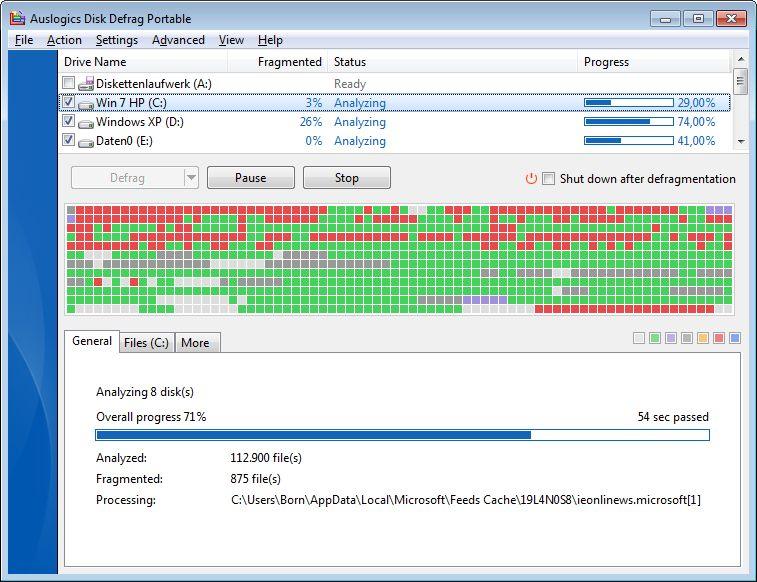 So sieht's aus, wenn ein Festplatte mal so richtig defragmentiert wird (Screenshot via borncity.com)