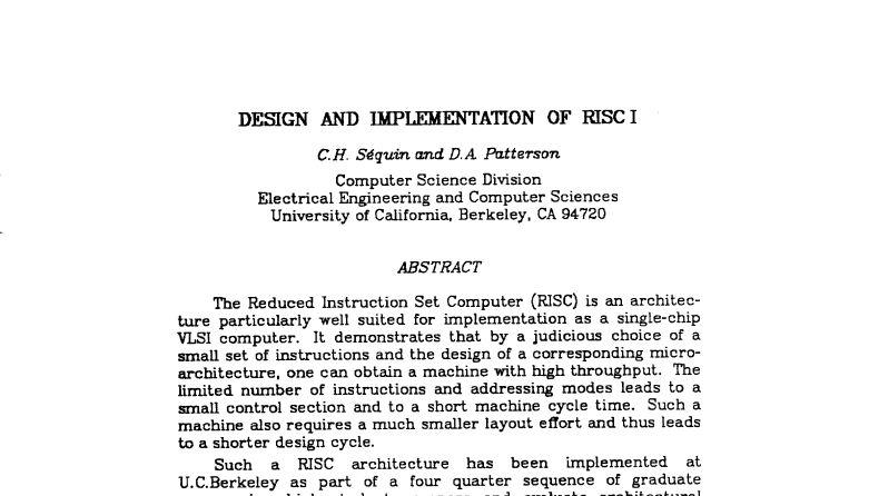 Das Original-Paper von Patterson und Séquin zum RISC 1