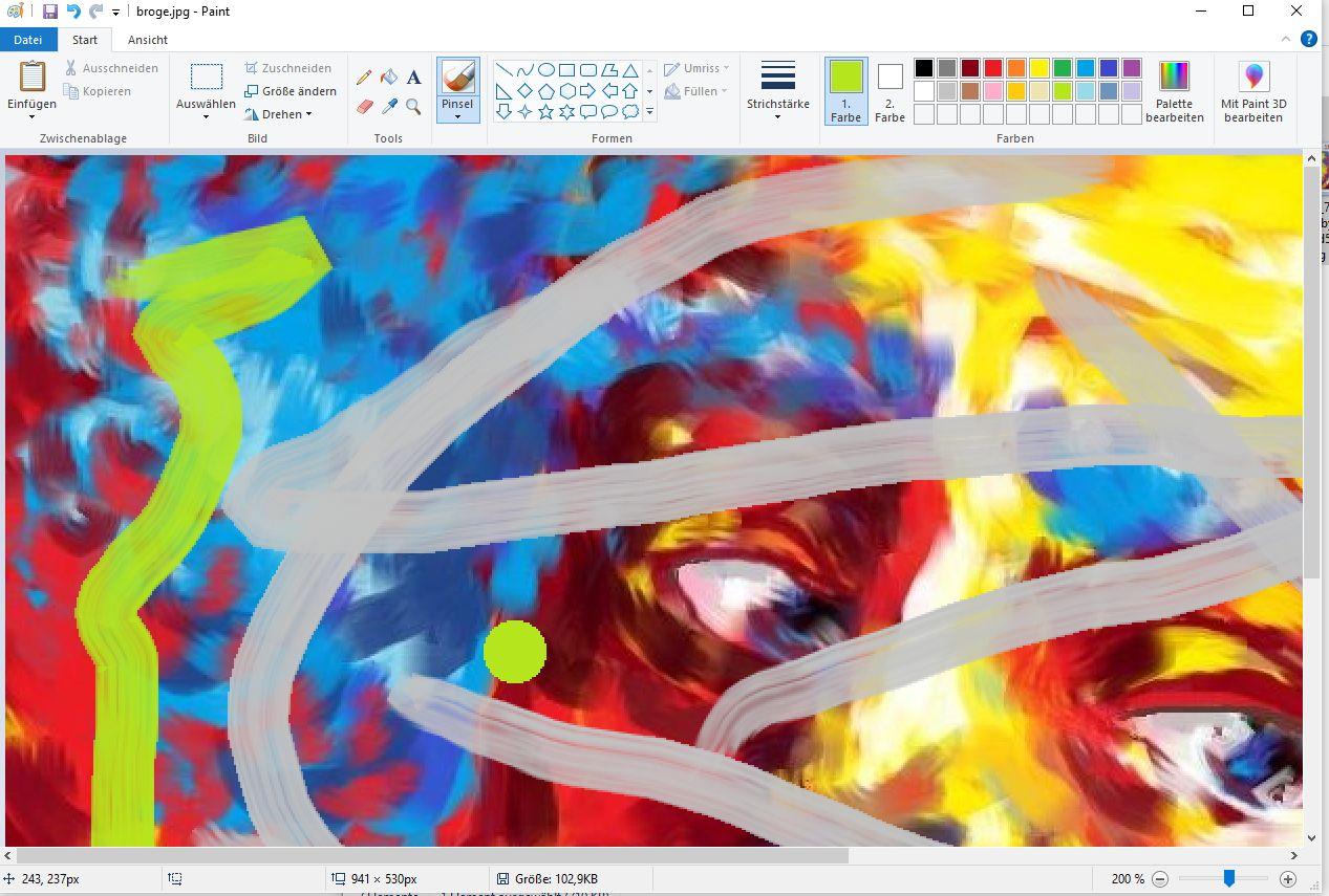 MS Paint lebt immer noch - hier als App in Windows 10 (Screenshot: DS)