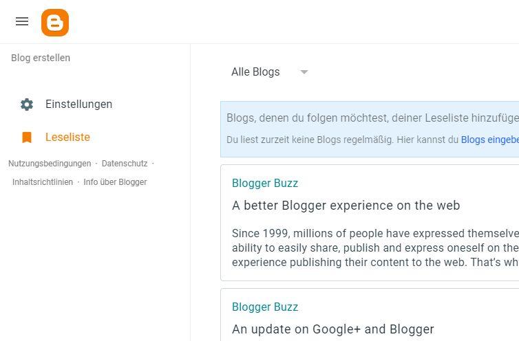 Blogger.com gehört Google und hat mehrere Blog-Plattformen geschluckt