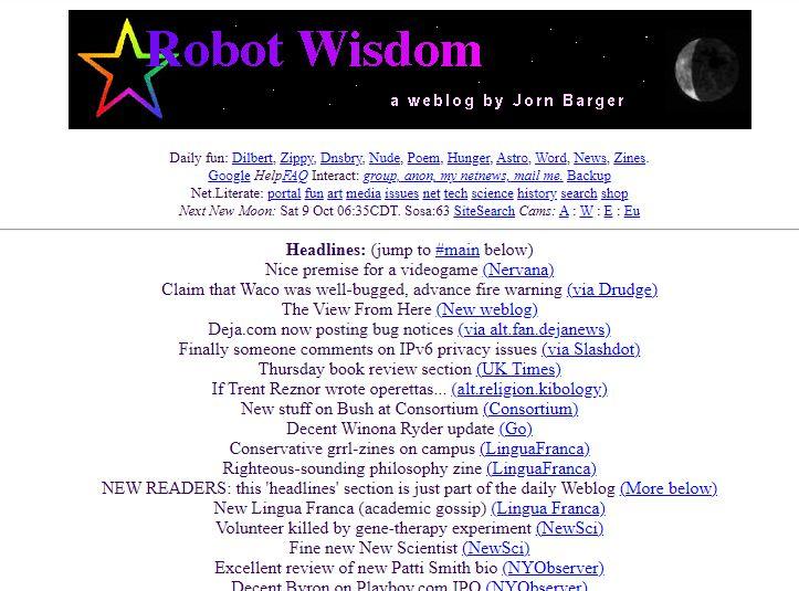 """Das Blog """"Robot Wisdom"""" im Jahr 2001 (per Wayback-Machine)"""