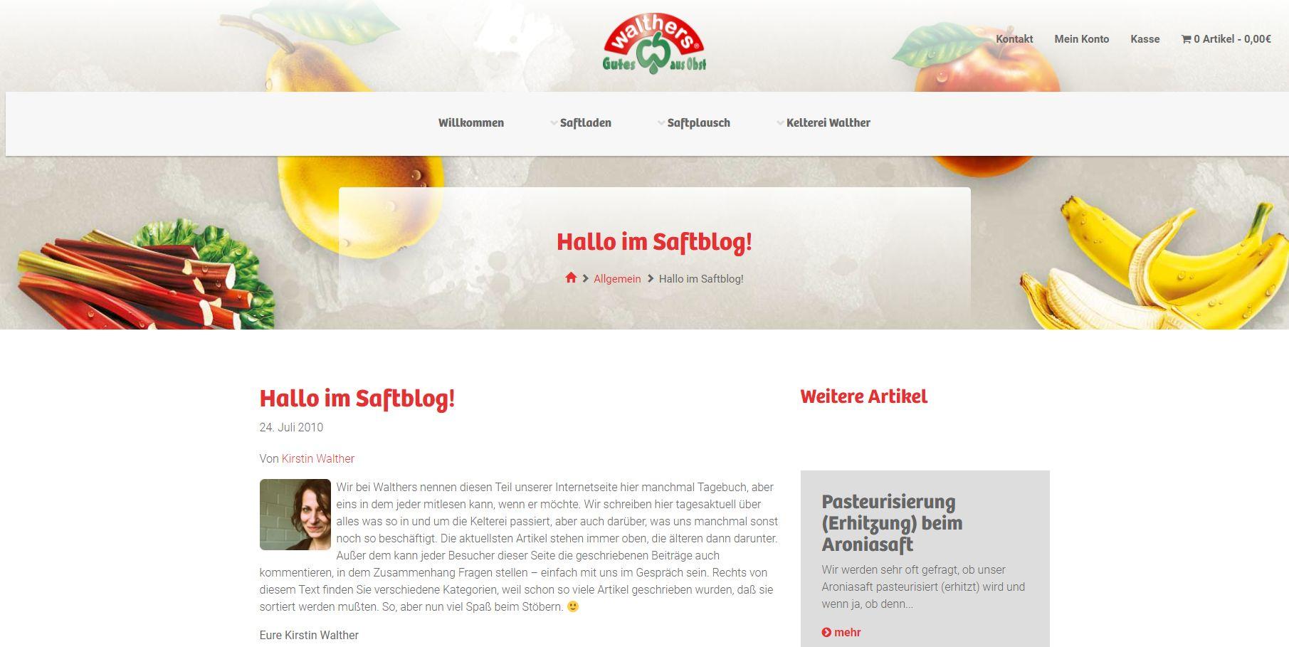 Das Saftblog - eines der wenigen erfolgreichen Unternehmens-Blogs; hat immerhin bis 2010 überlebt