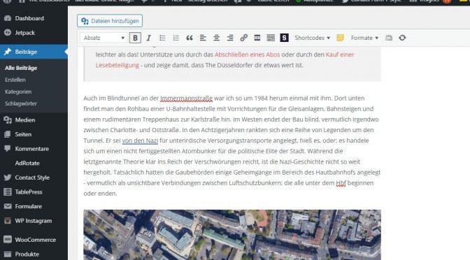 Mogelpackung WYSIWYG - ein Editor in Wordpress (Screenshot The Düsseldorfer)